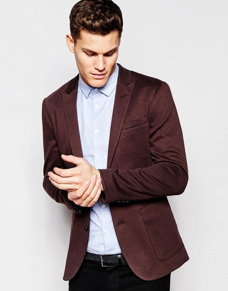 Image 1 ofASOS Super Skinny Blazer in Jersey in Brown