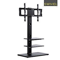 RFIVER Floor TV Stand with Universal Swivel Bracket Mount and Three Wood AV Shelves for 32 to 65 Inches Plasma/LCD/LED TVs-TF1002