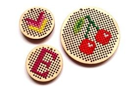 THE HEN HATCH WORKSHOP - Wooden Cross Stitch Pendants.  Each guest can create their own cross stiitch design on a wooden pendant to be made into a necklace or keyring.