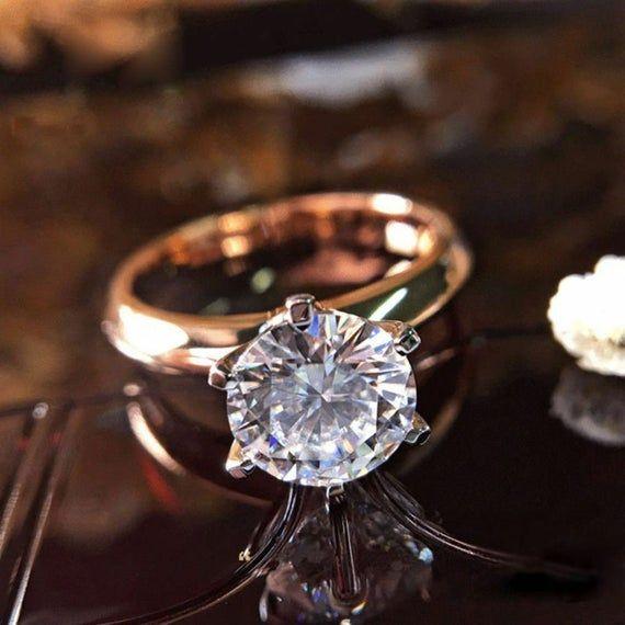 Milgrain Wedding Band Near Colorless Round Brilliant Moissanite Ring in 10K 14K 18K Rose Gold 1.50Ct Round Cut Moissanite Engagement Ring