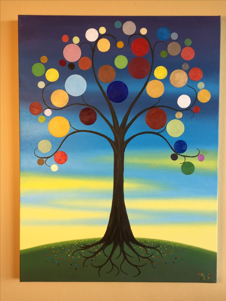 A vibrant tree pulled from the imagination and painted with vivid oil colours.
