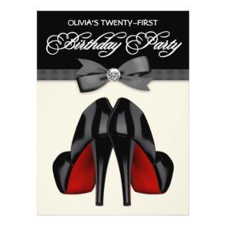 21ème fête d'anniversaire d'arc de la femme noire carton d'invitation  16,51 cm x 22,22 cm