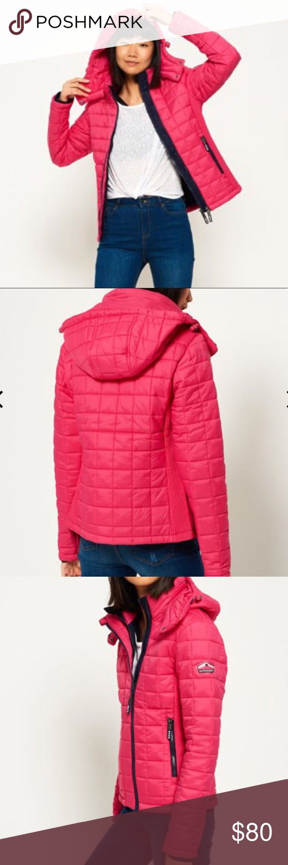 ⬇️ Flash Sale! Superdry Ladies' Jacket Hooded Pink NWT Superdry Ladies' removable hood box quilt pink jacket. Super cute slimming design. The jacket also comes with ribbed sides and multi zip fastening for a comfortable fit. SOLD-OUT size online. Superdry Jackets & Coats Puffers