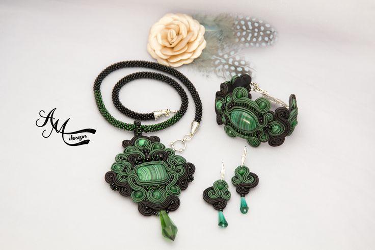 Soutache jewelry Soutache necklace Soutache earrings Soutache set
