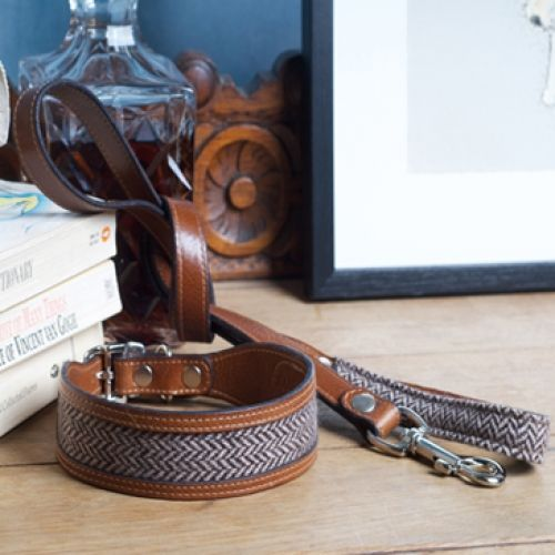 Luxurious leather and tweed collar and leashes hand made in the Scottish borders. View full collection on http://Artsydog.com