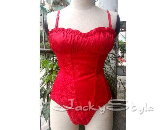 Corsé rojo con diseño Paisley precioso brocado suave por JackyStyle
