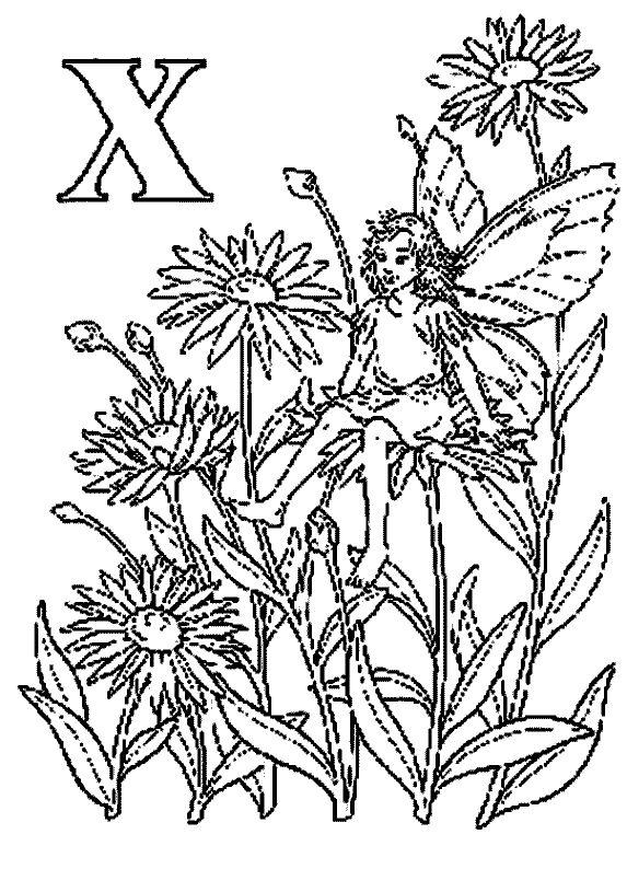 kleurplaat Alfabet Elfjes - Alfabet Elfjes X