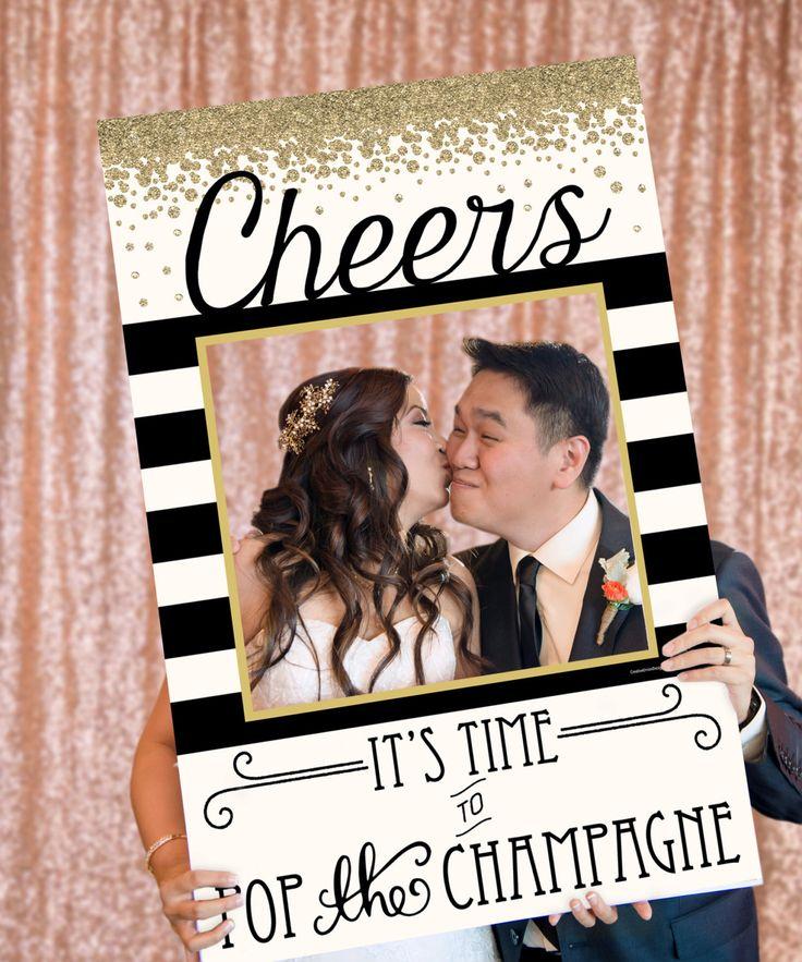 Cheers Photo Prop  Pop Champagne  Wedding Photo Prop  24x36
