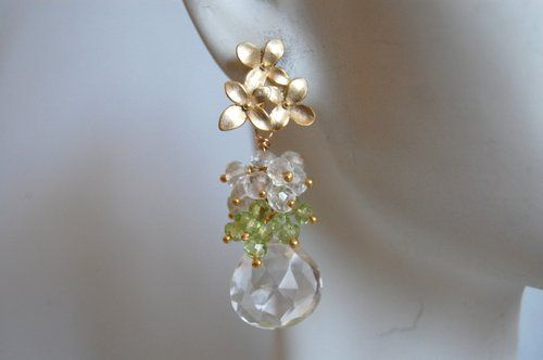 Shoply.com -Crystal quartz briolette and peridot,moonstone earrings. Only C$48.00