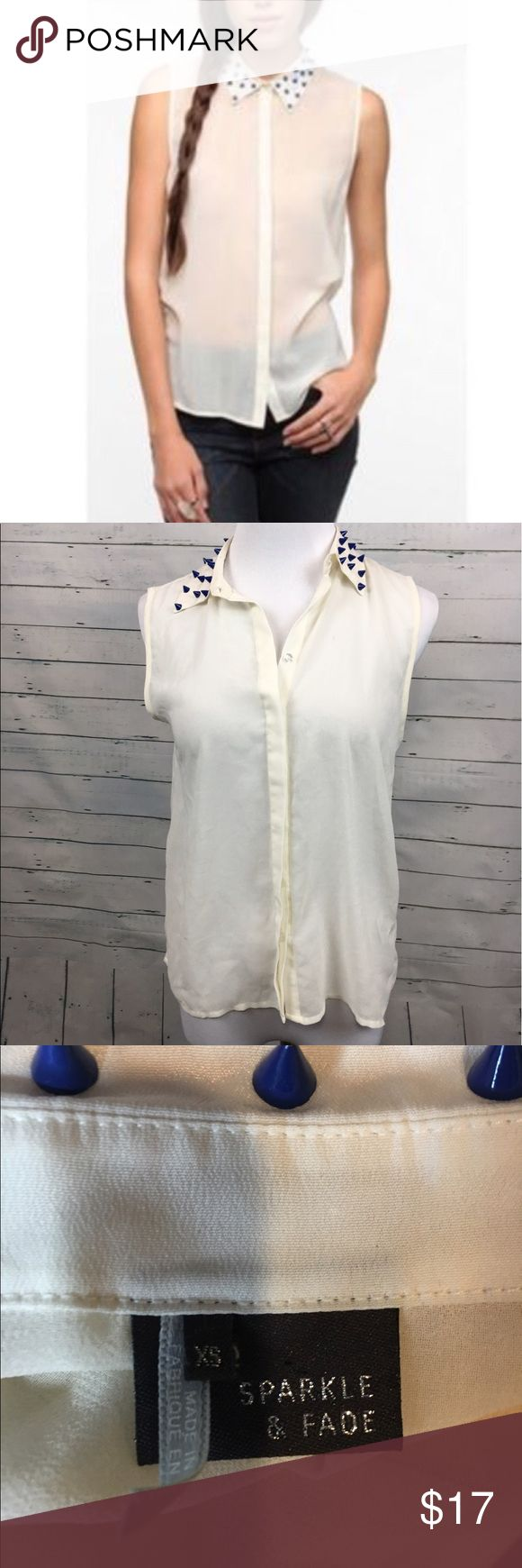 """Sparkle & Fade studded collar Blouse white Urban outfitters Sparkle & Fade white XS sheer blouse with blue studded collar. Pink spot on front of shirt  armpit to armpit-19"""" overall length-24.5"""" Urban Outfitters Tops Blouses"""