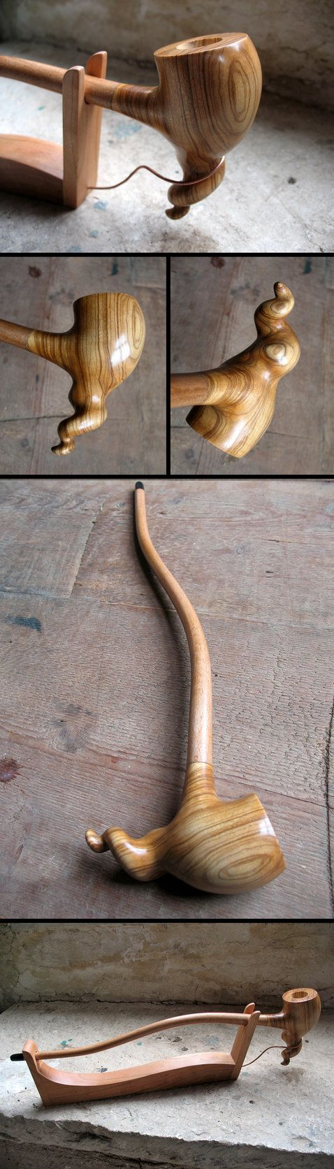 A dragon-pipe, smokable, made on commission, original design by me. The bowl is made of olive wood from Puglia, the removable stem is made of flamed maple steam-bended, with ebony wood tip. Finishe...