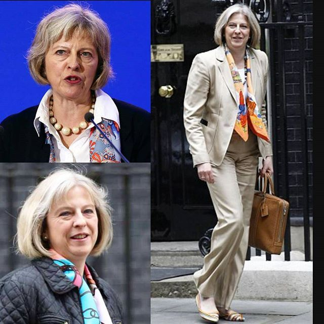 Congratulating our new Prime Minister Teresa May, today's #silk #scarf styling…