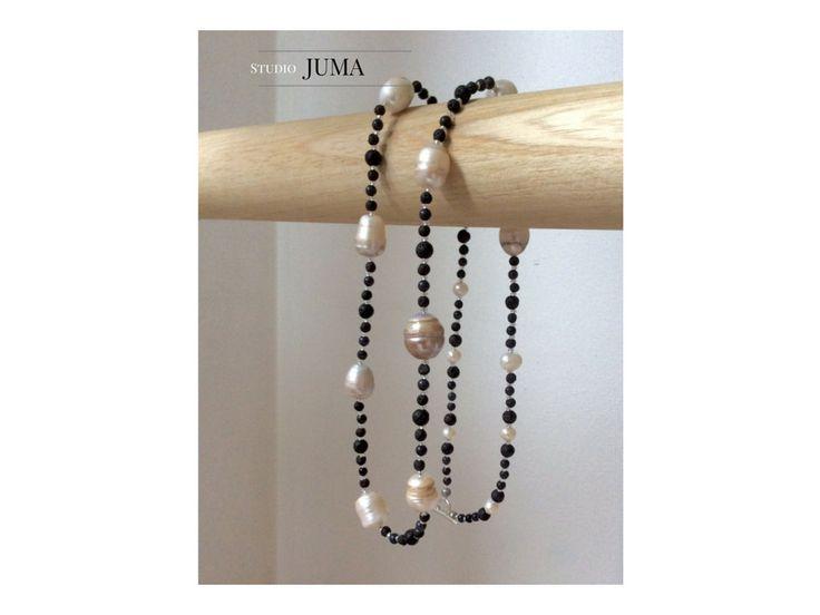 Collana lunga PERLANERA con madreperla, argento, pietre semipreziose by StudioJUMA on Etsy
