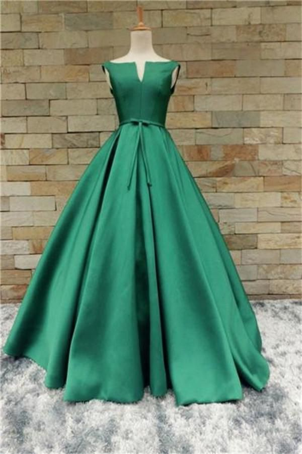 Modest Green Long A-line Satin Simple Cheap Classy Prom Dresses Z0492