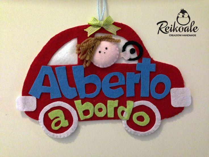 #bimboabordo #personalizzato #reikoale #creazioni #pannolenci #handmade #fattoamano #macchina #macchinina