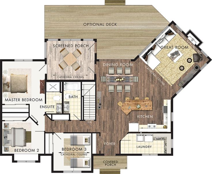 Stillwater (1598 sq ft) - This would be ideal for entertaining as a spacious 2 bd home by expanding the kitchen into the current laundry area and moving the washer/dryer into bd 2 as a master closet combo room. The current mb closet could be turned a separate shower leaving room in the ensuite for a bidet. No basement, instead put a mass heater where stairs are.