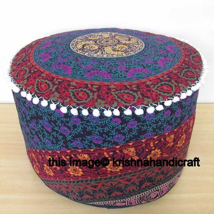 Indian Mandala Ottoman Pouf Boho Round Pouffe Ethnic Cotton Floor Bean Bag Cover #Handmade #Traditional #OttomanCoverPoufCoverFootstoolCover