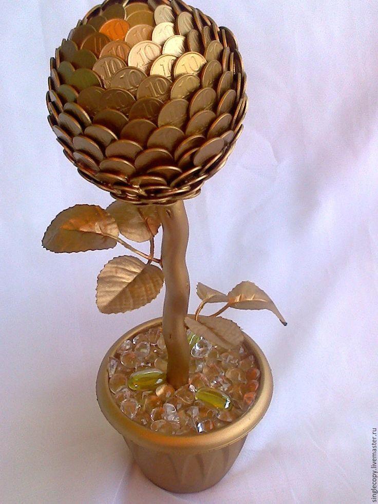 Купить Денежный цветок ( золото) - золотой, поделки из монет, денежный талисман, денежный подарок