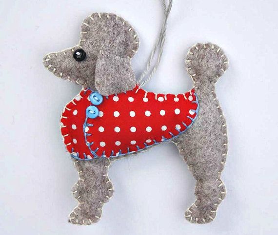 Poodle Christmas ornament Felt dog ornament by PuffinPatchwork, $11.50