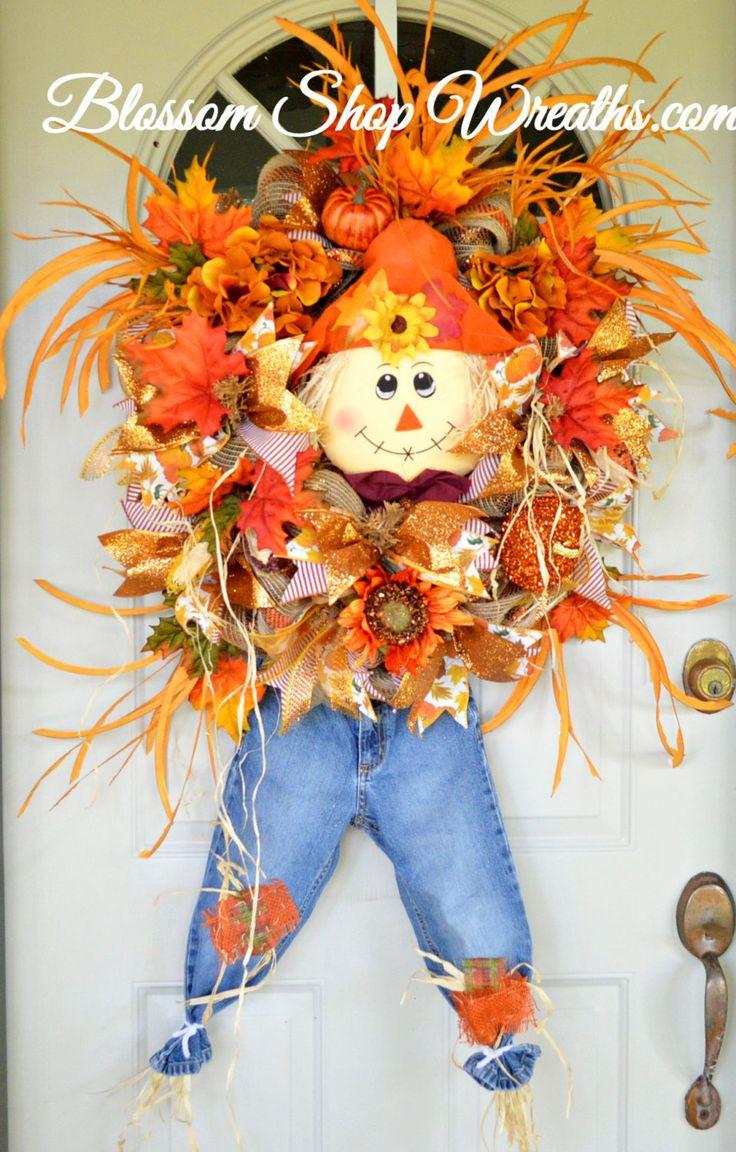 Deco Mesh Wreath, Fall Wreath, Autumn Wreath, Scarecrow Wreath, Door Wreath, Door Decor, Fall Deco Mesh, Fall Decor, Front Door Wreath, Fall by BlossomShopWreaths on Etsy