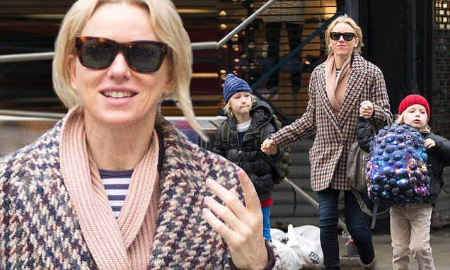 #celebrity - #NaomiWatts makes sure her sons are kept warm in cute wooly hats in #NYC...