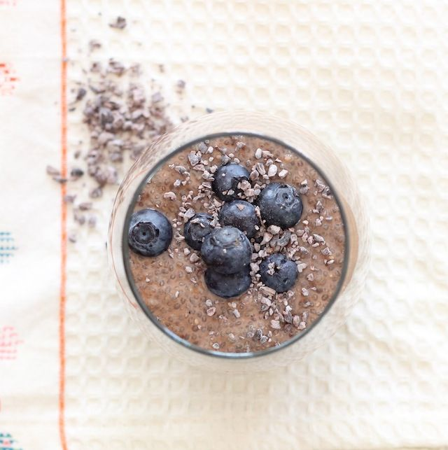 Chocolate Chia Blueberry Pudding