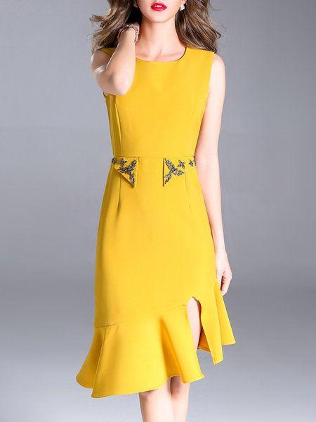 3214facc7c7f Shop Midi Dresses - Yellow Crew Neck Mermaid Solid Elegant Midi Dress online.  Discover unique designers fashion at StyleWe.com.