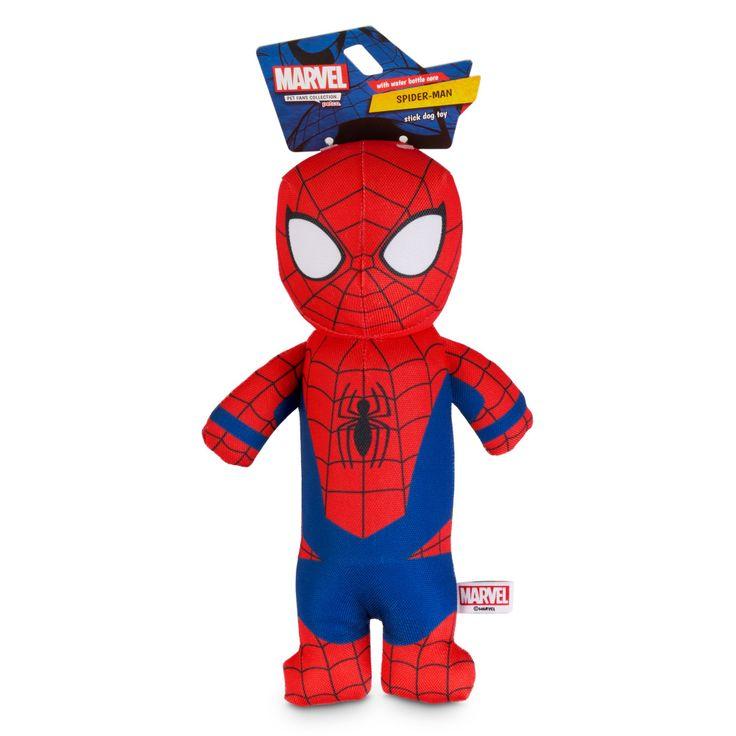Marvel spiderman bottle cruncher stick dog toy medium