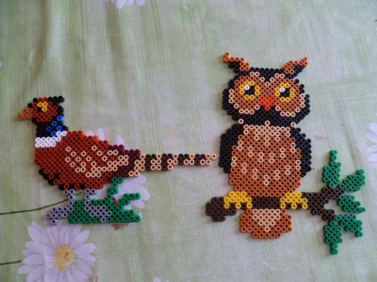Owl and partridge hama perler - Les petites croix de Stéphanie