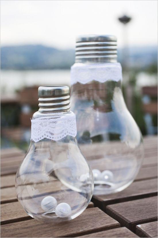 lightbulbs with mini battery powered lights in the bottom #weddinglighting #weddingreception #weddingchicks http://www.weddingchicks.com/2014/03/19/lavender-and-silver-switzerland-wedding/