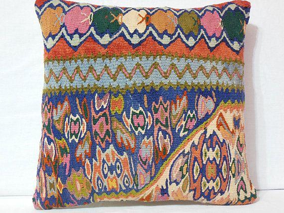 Handwoven Anatolian Kilim Pillow Cover  Multicolor by DECOLIC, $55.00