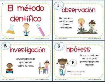 Scientific method posters in Spanish for bilingual or dual language science classrooms. Just print on tagboard, laminate, cut and post around your classroom or in your science center. Each poster provides an explanation for each scientific method step with illustrations.