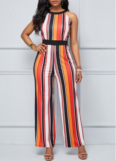 8d3057d2c37 Sleeveless High Waist Stripe Print Jumpsuit