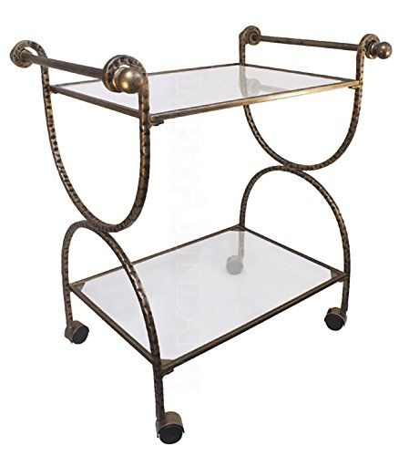 Classic Style Hammered Metal & Glass Bar Cart with Textured Finish and Locking Casters #SimplyAbundant