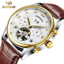 BINSSAW new men watch of wrist of original luxury brand automatic mechanical fashion leather sports watches relogio masculino(China (Mainland))