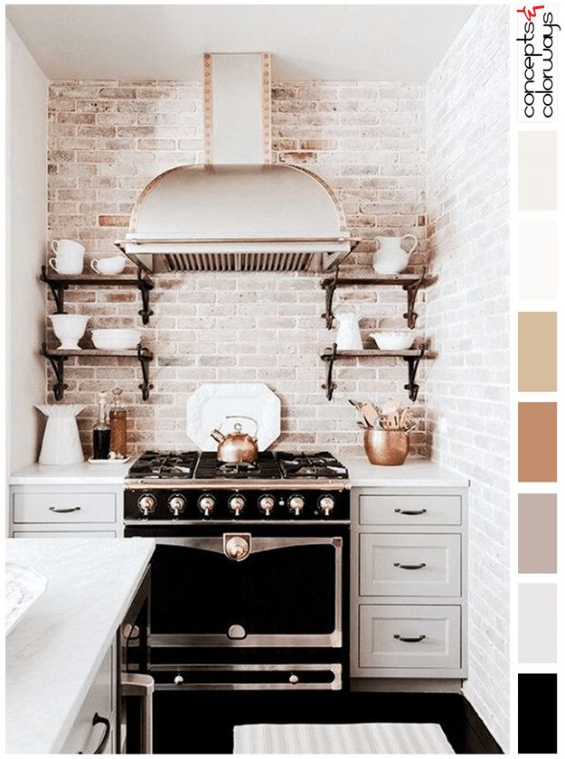 Whitewashed Brick Kitchen Black Accents,interior Color Palette, Vintage  Black Stove, Black Tile