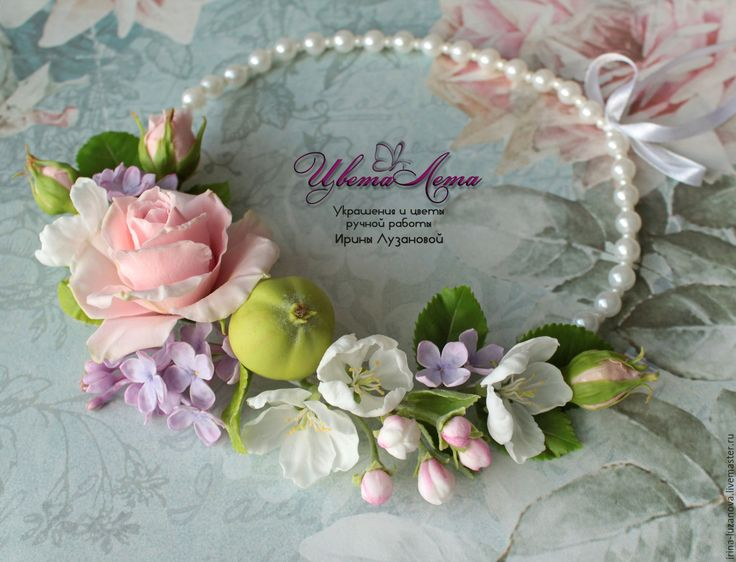 """Buy Necklace """"Spring breath"""" flowers from polymer clay - combo, necklace with flowers"""
