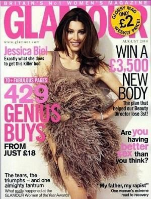 Who made Jessica Biel's feather dress that she wore on the cover of Glamour magazine? Dress – Sonia Rykiel