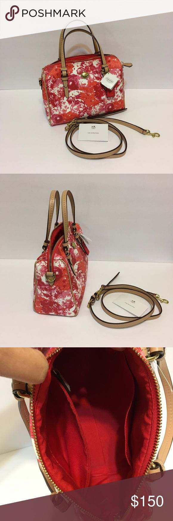 💜Coach Purchased in 2014 but used only once. I figured its  small for me :) but it can be a perfect size for others 🌸color is pink Multicolor, it's like new, very clean inside and out.🌸 Coach Bags Mini Bags