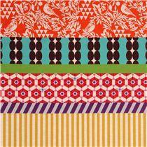 breiter Vogel Streifen echino Popeline Stoff gara orange