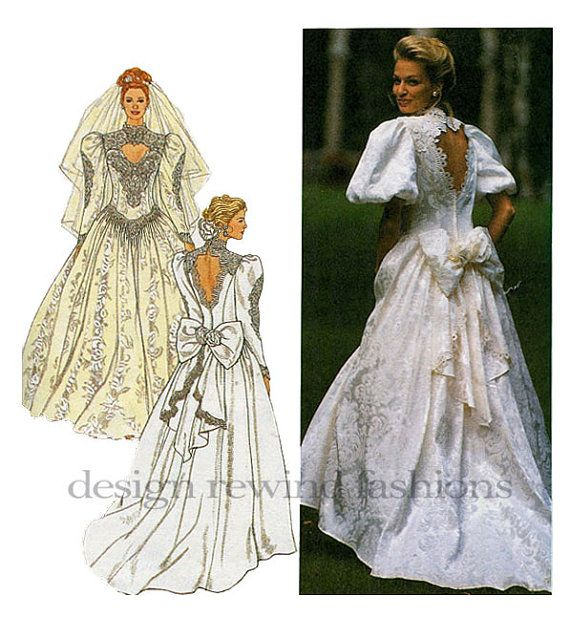 90s WEDDING DRESS PATTERN Gown Keyhole Cut Out Bodice & Back Jessica…