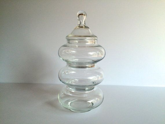 Vintage Stacking Apothecary Jars. Set of 3. Clear Glass Storage Containers with One Lid. Perfect for the bathroom to store cotton balls, hair