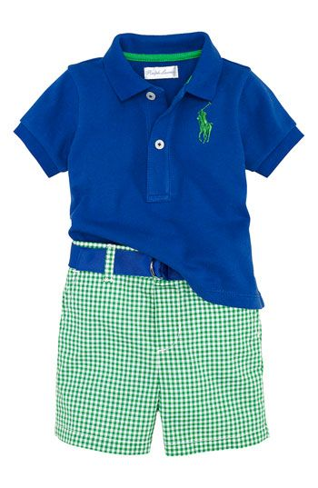 Ralph Lauren Polo & Gingham Shorts Set (Infant)