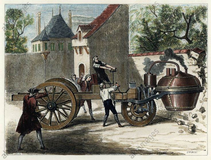Test drive of the steam engine by Nicolas-Joseph Cugnot (1725-1804), 1769 after Ulysse Parent