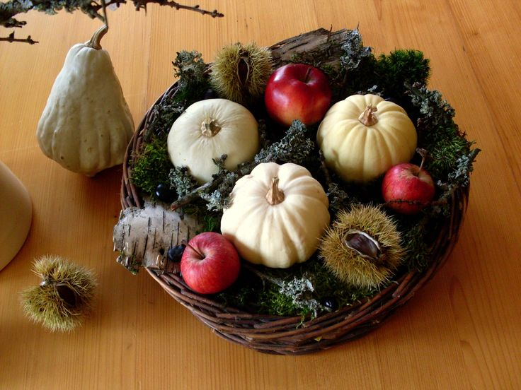 Autumn composition, floristry, pumpkin, apple, pumpkins, nature, moss, birch bark