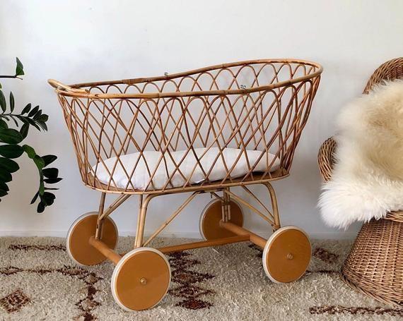 70s Baby Cot Crib Cradle Of Rattan Bamboo Stubenwagen Baby