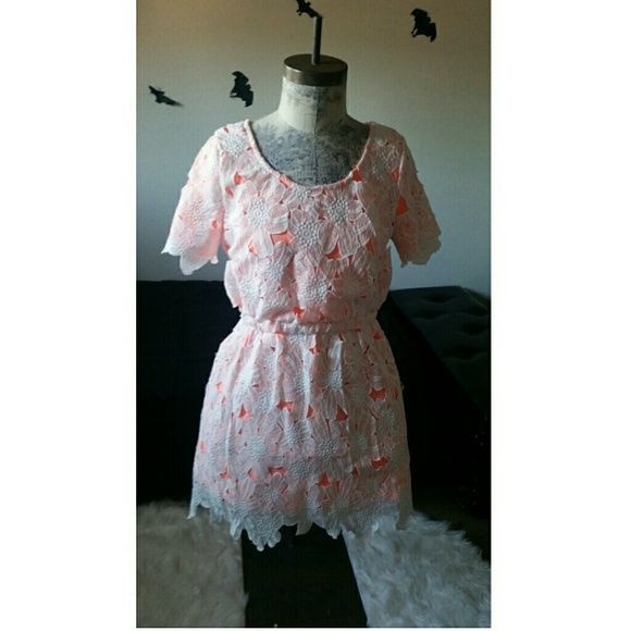 🍍🍉NWOT  Orange & white lace dress🍉🍍 NwOT dress. Not my size price is firm on flash sales Urban Outfitters Dresses