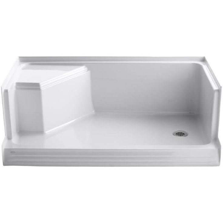 KOHLER Memoirs White Acrylic Shower Base (Common: 36-in W x 60-in L; Actual: 36-in W x 60-in L)