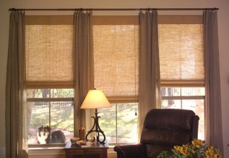 Living room natural shades contemporary window treatments - Modern window treatments for living room ...