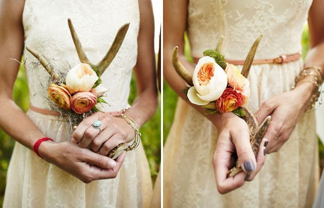 rustic antler bridesmaid bouquets for rustic wedding